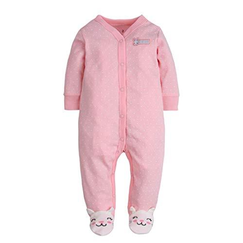 Amissz CARETOO Unisex Baby Schlafstrampler Bärchen, Baumwolle Pyjamas Cartoon Strampler, Rosa, Gr.-9-12 Monate/Etikettengröße- 12M