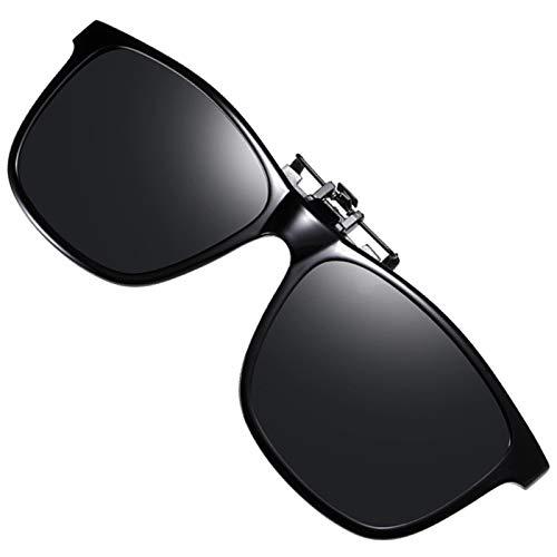 Polarized Flip-up Clip-on Sunglasses Anti-Glare UV Protection Driving Sun Glasses Over Prescription Glasses (Black)