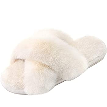 Women s Cross Band Slippers Soft Cozy Open Toe House Shoes Indoor Outdoor Warm Comfy Slip On Breathable Cream 7-8