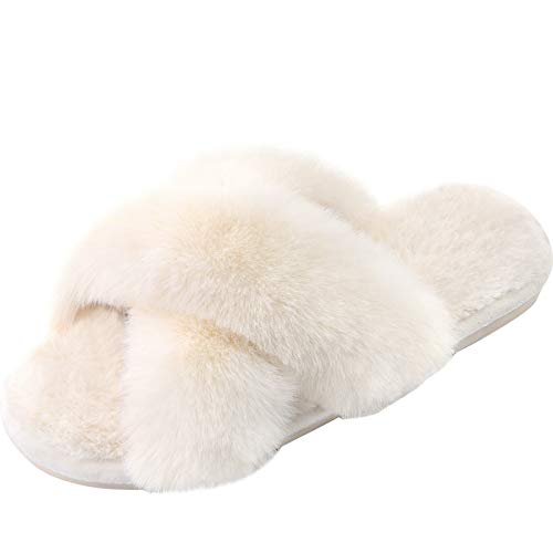 Women's Cross Band Slippers Soft Plush Furry Cozy Open Toe House Shoes Indoor Outdoor Faux Rabbit Fur Warm Comfy Slip On Breathable Cream 9-10 Ivory