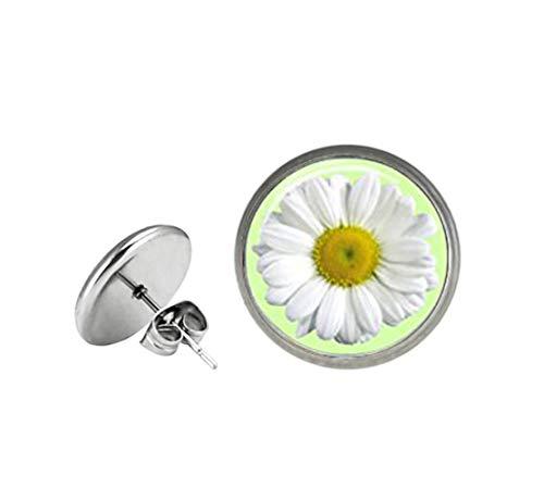 Elf House Pendientes de margarita de cristal, pendientes de tuerca de margarita, pendientes de tuerca de margarita blanca, joyas de margarita, pendientes de flores blancas,