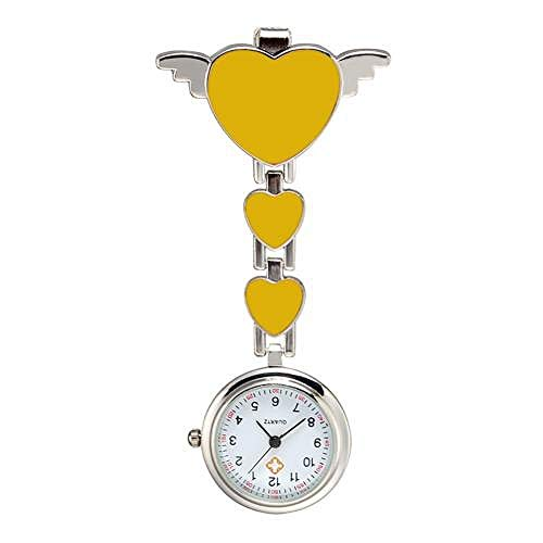 XVCHQIN Enfermera Moda Mujer Amor corazón Cuarzo Enfermera Bolsillos Colgantes Reloj Mujer Doctor Relojes médicos, Amarillo