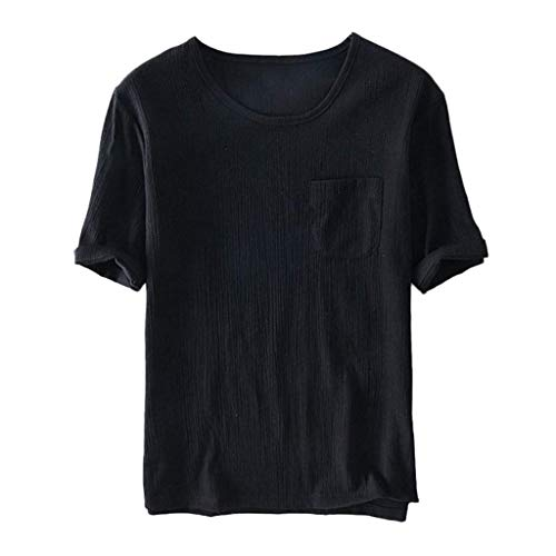 Xmiral T-Shirt a Maniche Corte in Lino di Cotone Morbido Casual da Uomo Maglietta L Nero