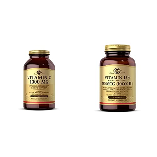 Solgar Vitamin C 1000 mg, 250 Vegetable Capsules - Antioxidant & Immune Support - Overall Health - H with Vitamin D3 (Cholecalciferol) 250 MCG (10,000 IU), 120 Softgels - Helps Maintain Healthy Bones