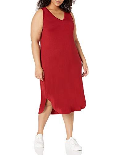 Amazon Brand - Daily Ritual Women's Plus Size Jersey Sleeveless V-Neck Dress, deep red, 1X