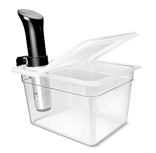 Everie Sous Vide Container 12 Quarts with Universal Collapsible Hinged Lid, Compatible with All Anova Models, Joule, Wancle, Instant Pot and Other Cookers, EVC-TY-PP