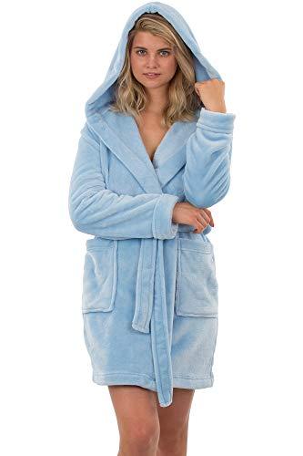 VEAMI Francesca Fleece Hooded Bathrobe, Plush Warm Bathrobe with Hood, Short-Sky Blue-Medium