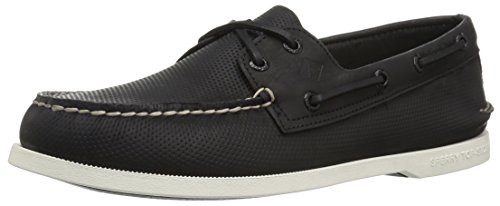 Sperry Men's A/O 2-Eye Perfed Boat Shoe, Black, 9.5 Medium US
