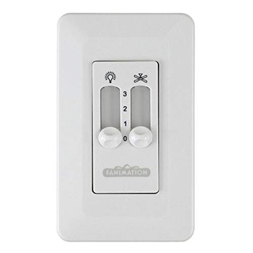 Fanimation CW2WH Traditional Wall Non-Reversing-Fan Speed and Light from Controls Collection in White Finish, 4.57 inches