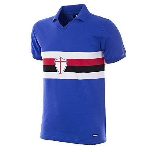 Copa Herren U. C. Sampdoria 1981-82 Retro Fußballtrikot Retro Fußballkragen T-Shirt M blau