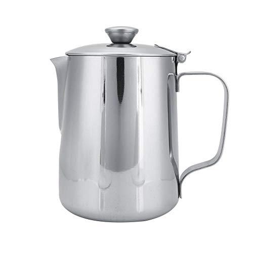 Jadeshay Lattiera - Tazza da caffè Lattiera con Schiuma di Latte Brocca con Coperchio Acciaio Inossidabile per caffè Latte Art(600mL)