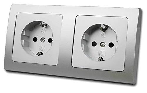 DELPHI Doppel-Steckdose Silber Grau 250V/16A Unterputz Schutzkontakt Steckdosen mit Berührungschutz 2-fach Steckdose UP Montage