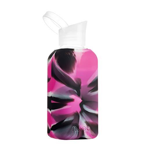 NUOC - UTOPÍA Wiederverwendbare Wasserflasche aus hochwertigem Borosilikatglas, leicht, ohne BPA und ohne Phthalate und zu 100% recycelbar. Perfekt für heiße und kalte Getränke Trinkflasche 500ml.