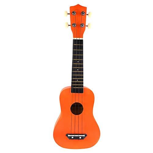 Bnineteenteam Ukelele-gitaar, 21 inch, effen nylon gitaar-ukelele met vier snaren, oranje/lila/blauw/geel/groen, ukelele voor kinderen