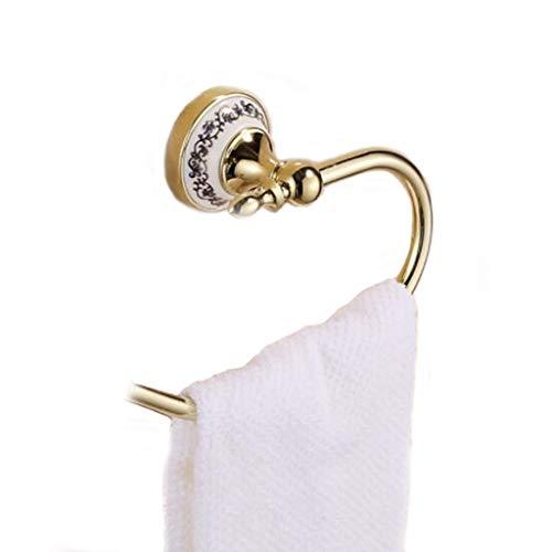 HOOPOO Toallero de baño con baño de Porcelana Azul y Blanca Chapado en Oro