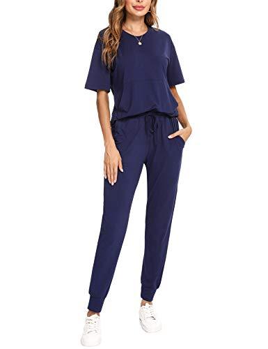 Irevial Chandal Mujer Completo Verano Conjunto de Camiseta y Pantalones de Manga Corta Casual Ropa Deportiva Dos Piezas Primavera para Correr Azul Real , M
