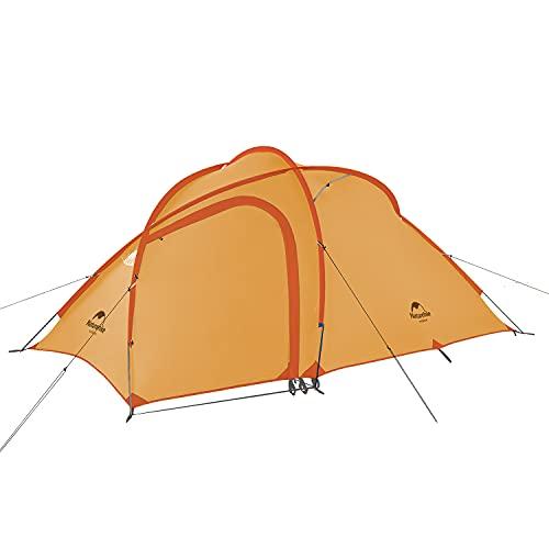 Naturehike Hiby3 2-3人用/Hiby4 4人用キャンプ テント アップグレード版 アウトドア登山テント ゆったり前室 タープスペース付き二層構造 防雨 防風 防災 グランドシート付き (柑子色)