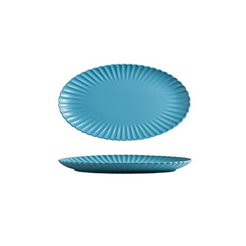 Hanpiyigcp Platos, Placa de la fruta creativa de la placa de la placa de 1 unids, placa de pescado al vapor a domicilio, cerámica de la cena de la cena de la placa de la cena ovalado de la placa de pe