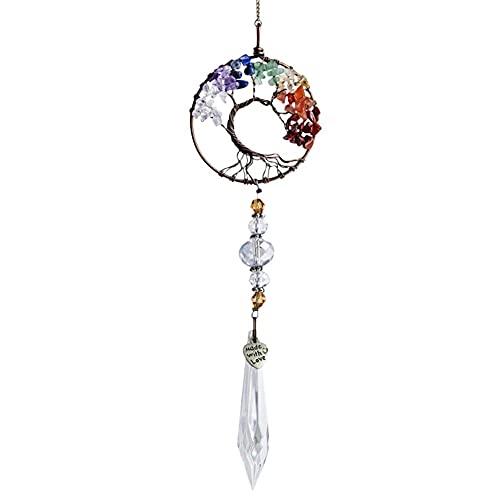 Colgante de cristal de la bola del arco iris del prisma del árbol de la longevidad