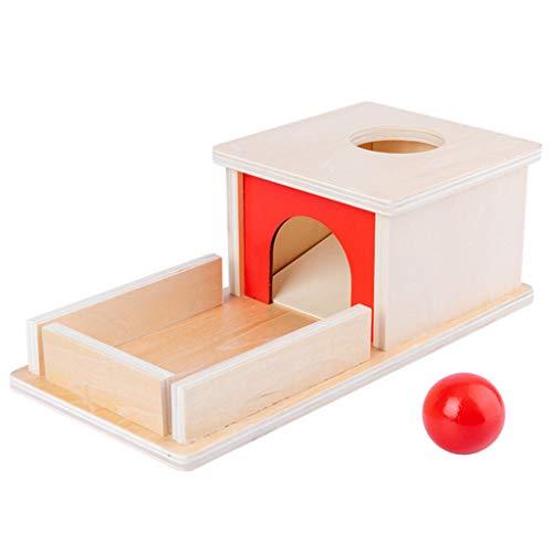 MiSha Bloques Juego Montessori, permanencia de los Objetos de Madera Caja, Permanencia Cuadro de Destino con la Bandeja de Bolas Montessori para niños pequeños Juguetes educativos