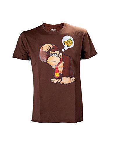 100% Official Nintendo Donkey Kong Bananas T-shirt, Chocolate, XL for Men