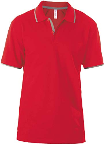Kariban Polo Manches Courtes - Red/Light Grey, S, Unisexe