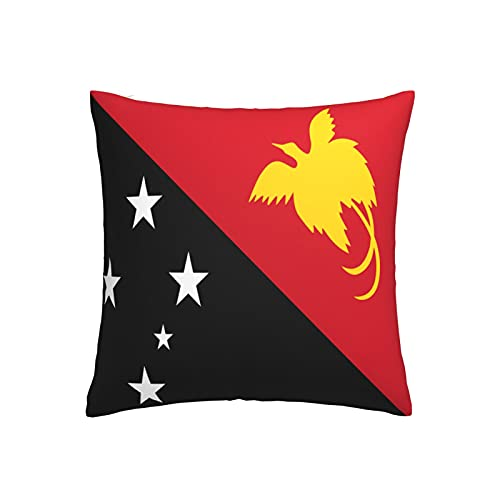 Kissenbezug, Motiv: Flagge von Papua, Neuguinea, quadratisch, dekorativer Kissenbezug für Sofa, Couch, Zuhause, Schlafzimmer, für drinnen & draußen, niedlicher Kissenbezug, 45,7 x 45,7 cm