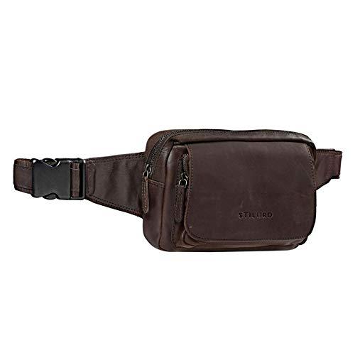 STILORD 'Boston' Bandolera Cintura Hombre Piel Vintage Riñonera Bolsa de Cuero Bolso de Cintura Cadera o Cinturón Mujer Deportes Running Fiesta Trabajo, Color:marrón Oscuro - Opaco