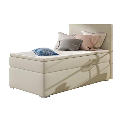 Selsey Mechico – Einzel-Boxspringbett/Polsterbett mit Bettkasten rechts und Kunstlederbezug in Beige ca. 90x200cm