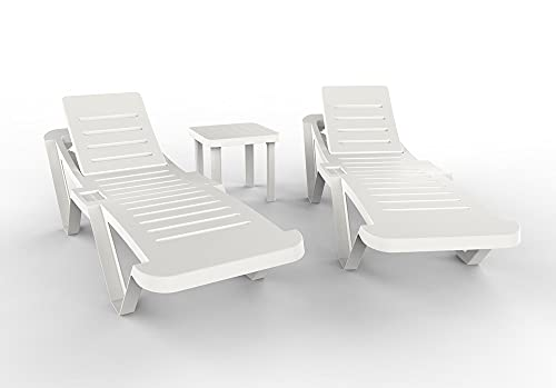 RESOL Master Set 2 Tumbonas y 1 Mesa Auxiliar Andorra   Conjunto Tumbona Exterior con Ruedas Apilable con Respaldo Ajustable   Muebles de Jardín Exterior con Protección UV - Color Blanco