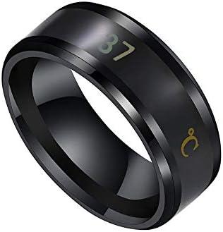 JZD Multifunctional Waterproof Intelligent Smart Temperature Couple Ring Titanium Steel Finger Jewelry Fingertip Temperature Sense (Black,10)