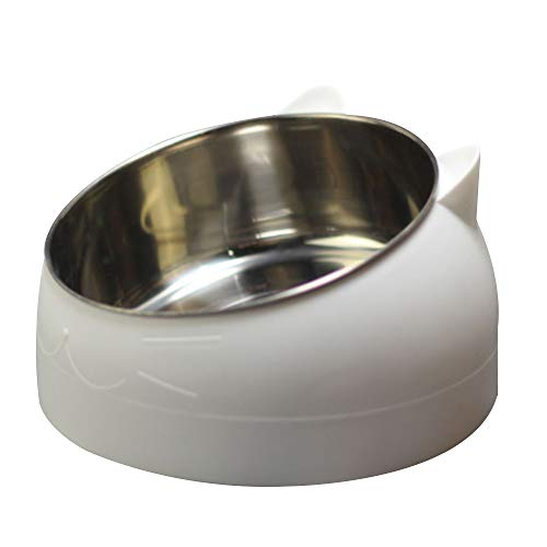 Asdomo - Cuenco inclinado para mascotas, 15 grados, acero inoxidable, para cachorros, gatos, alimentos, bebidas, agua, con base antideslizante, protección para el cuello