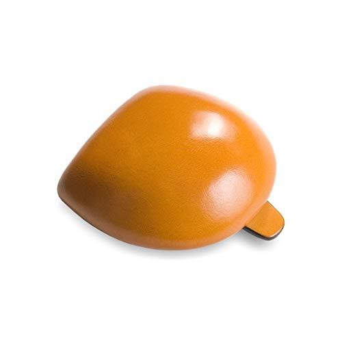 IL BUSSETTO Coin Pouch Tacco Monedero Hecho a Mano en Moes de Madera en Cuero Pintado con Colores Vegetales y Líneas de Construcción Invisible. (Ochre)