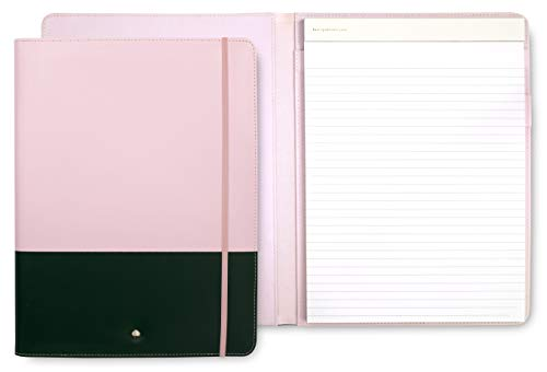 Kate Spade New York Women's Pink/Green Professional Folio with Lined Notepad, Interior Pocket, and Pen Loop, Colorblock