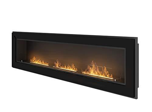 Cheminée au bioéthanol à encastrer au mur avec verre de protection inclus cadre noir semi-mat en acier inoxydable (180cm)