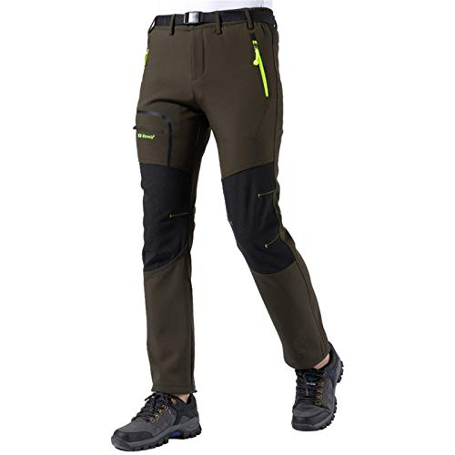 Pantaloni Trekking Uomo Asciugatura Rapida Traspiranti Impermeabile Softshell Zip off Pantaloni da Montagna Arrampicata Escursionismo Outdoor (Army Green, Medium)