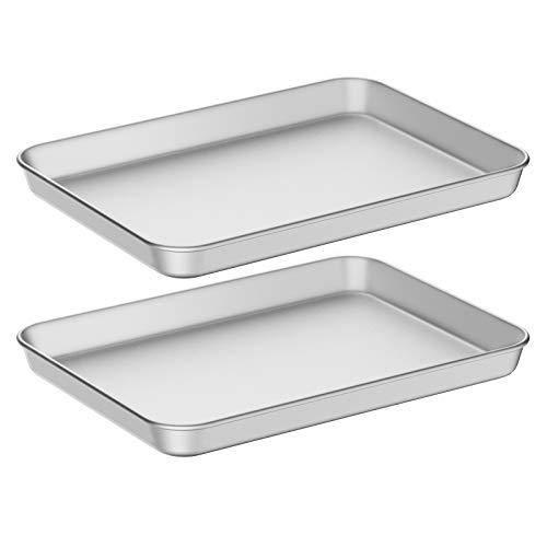 Baking Sheet Cookie Sheet Set of two, Umite Chef Stainless Steel Baking Pans Tray Professional 12 inch, Non Toxic & Healthy, Mirror Finish & Rust Free, Easy Clean & Dishwasher Safe