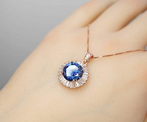 Rose Gold Tanzanite Necklace - Sterling Silver Halo 10mm 3.5Ct Blue Tanzanite Jewelry 18'