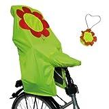 Lunari Kinder Fahrradkindersitz Regenschutz Lucky Cape Quick 2-in-1 Flower, Neongelb Mit...