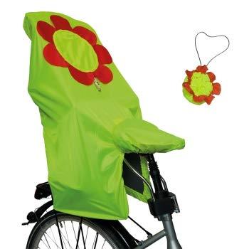 Lunari Kinder Fahrradkindersitz Regenschutz Lucky Cape Quick 2-in-1 Flower, Neongelb Mit Rot/Neongelber Blume, One Size