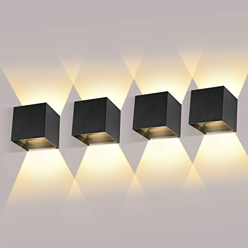 LEDMO 4 Piezas Aplique de Pared Interior/Exterior LED 12W Aplique de Pared Ángulo de Haz Ajustable 2700K-3000K Blanco Cálido Aplique Exterior Impermeable IP65 Aplique LED Negro