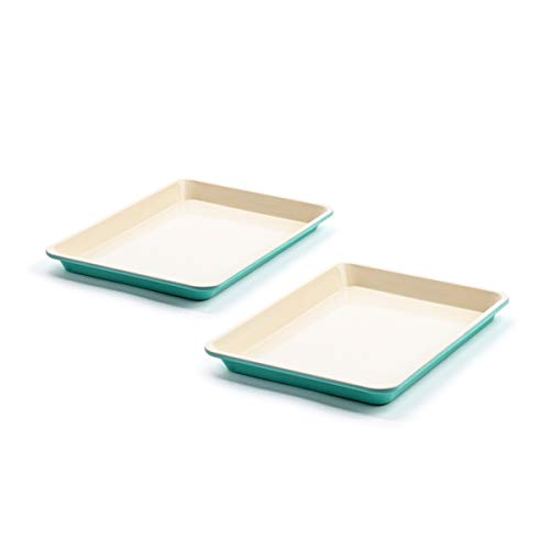 'GreenLife Healthy Ceramic Nonstick Turquoise Sheet Pans, Set of 2, 13 ''x 9''' (CC003905-001)