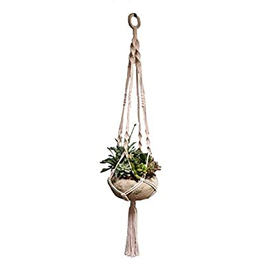 Macramé Plant Hanger, Handmade Decorative Indoor/Outdoor Hanging Planter Holder, Natural Cotton, 4 Legs 40 Inches, Cotton Ring for Hanging