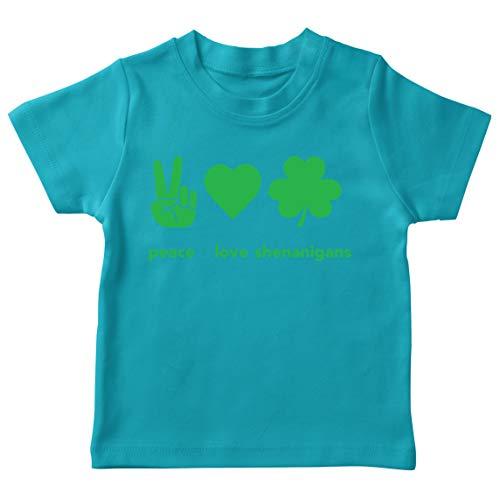 lepni.me Camiseta para Niños Paz y Amor Shenanigans Regalo para la Fiesta del Día de San Patricio en Irlanda (12-13 Years Azul Claro Multicolor)