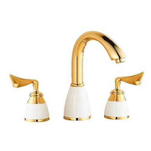 Grifo de cobre dividido de tres agujeros para lavabo de baño caliente...