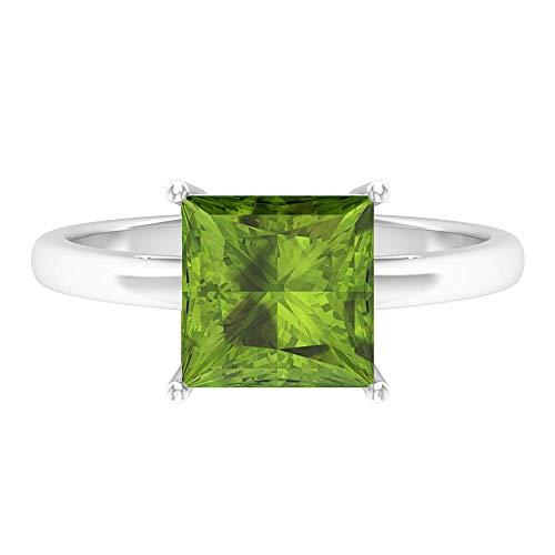 Rosec Jewels 14 quilates oro blanco talla princesa Green Peridoto/Olivino