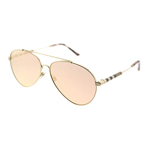 BURBERRY Damen 0BE3092Q 12437J 57 Sonnenbrille, Gold (Gold/Brownmirrorrosegold)