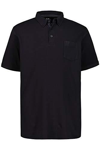 JP 1880 Herren große Größen bis 8XL, Poloshirt, extra weicher Pima Cotton, Buttondown-Kragen, Brusttasche, Halbarm, schwarz 6XL 723208 10-6XL