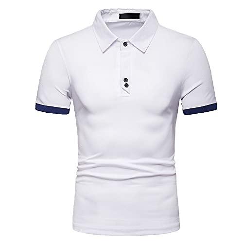 Camiseta básica de manga corta para hombre de verano con solapa en D
