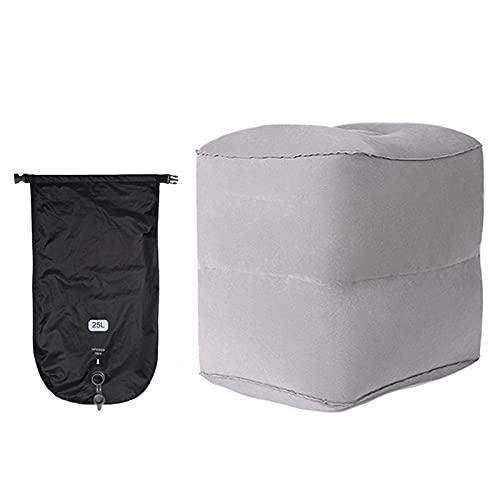 ALEOHALTER Almohada de viaje para niños, almohada de pierna de avión, descansa para pies inflable, altura ajustable para vuelo largo/viaje en avión o coche (gris 2 capas)